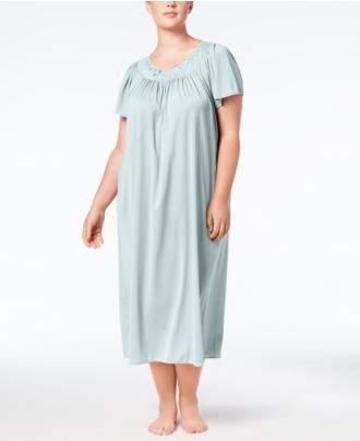 Miss Elaine Plus Size Tricot Flutter Sleeve Long Gown