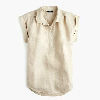 J.Crew Petite collared popover shirt in cross-dyed linen