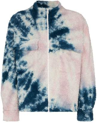 The Elder Statesman tie dye fleece zipper bomber jacket