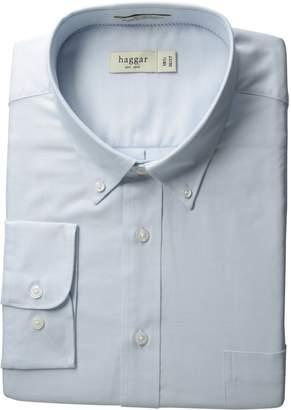 Haggar Men's Regular Fit Pinpoint Oxford Solid Long Sleeve Dress Shirt
