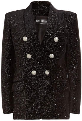 Balmain Milky Way Velvet Blazer with Embossed Buttons