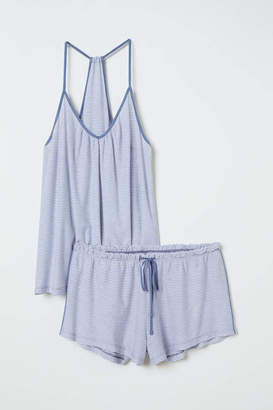 H&M Pajama Top and Shorts - Light blue/white striped - Women