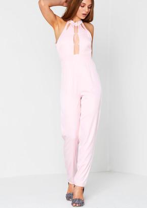 2f13de70a9af Missy Empire Missyempire Odetta Pink Cut Out Plunging Jumpsuit