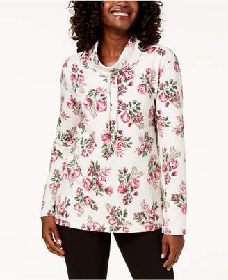 Karen Scott Petite Floral-Print Funnel-Neck Sweatshirt
