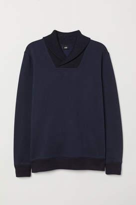 H&M Shawl-collar Sweatshirt - Blue