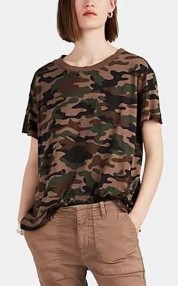 Nili Lotan Women's Brady Distressed Camouflage Cotton T-Shirt - Brown