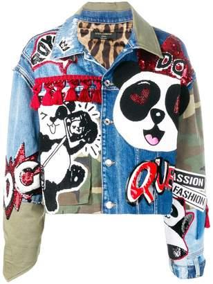 Dolce & Gabbana Panda denim and camouflage jacket