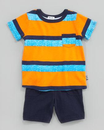 Splendid Littles Asher Stripe Tee & Jersey Shorts Set, Howl/Orange/Navy
