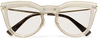 Valentino Cat-eye Layered Acetate And Gold-tone Optical Glasses