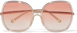 Chloé Nate Square-frame Acetate Sunglasses - Blush