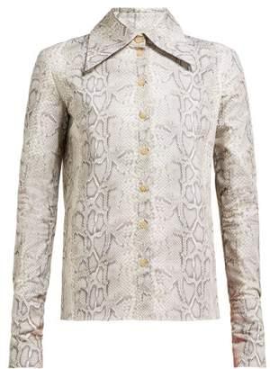 A.W.A.K.E. Mode A.w.a.k.e. Mode - Tonie Python Print Cotton Poplin Shirt - Womens - Grey Multi