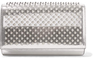 Christian Louboutin Paloma Spiked Metallic Lizard-effect Leather Clutch - Silver
