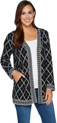 Susan Graver Jacquard Knit Long Sleeve Cardigan Sweater