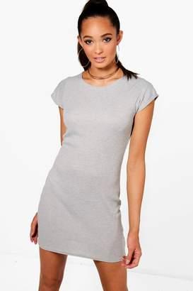 boohoo Ribbed Cap Sleeve Bodycon Dress