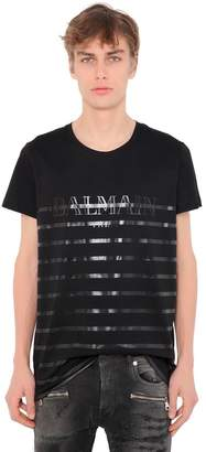 Balmain Printed Stripes Cotton Jersey T-Shirt