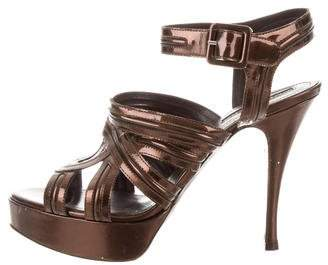 Andrew Gn Patent Leather Platform Sandals