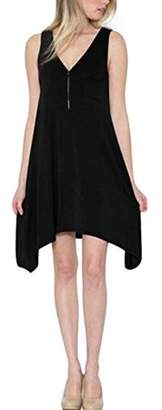 Lovaru V-neck Zipper Solid Color A-line Casual Dress