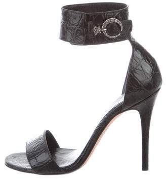 Alexander McQueen Embossed Ankle-Strap Sandals