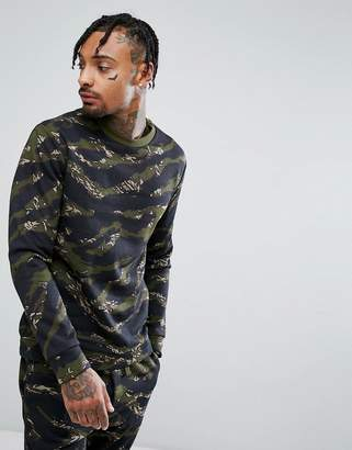 Bershka Camouflage Print Sweatshirt In Khaki