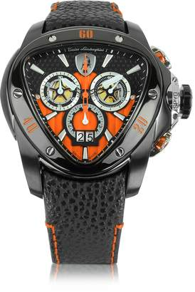 Lamborghini Tonino Black Stainless Steel Spyder Chronograph Watch w/Orange Dial