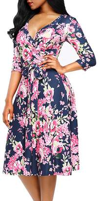 WO-STAR Women's 3/4 Sleeve Deep V-Neck Knee Length Faux Wrap Dress with Belt Blue XL