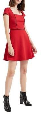 Miss Selfridge Textured Fit-&-Flare Dress