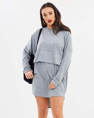 Missguided Overlay Long Sleeve T-Shirt Dress