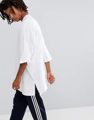 Asos Design Extreme Oversized Super Longline T-Shirt With Side Splits In White