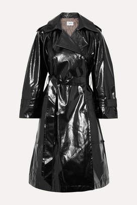 Nanushka Ambar Belted Vinyl Trench Coat - Black