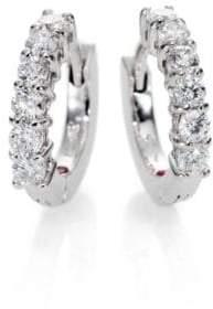 """Roberto Coin Diamond& 18K White Gold Huggie Hoop Earrings/0.5"""""""