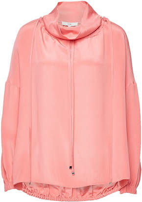 Tibi Silk Top with Drawstrings