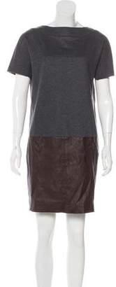 Brunello Cucinelli Leather-Paneled Virgin Wool Dress