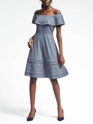 Chambray Off-Shoulder Dress $128 thestylecure.com