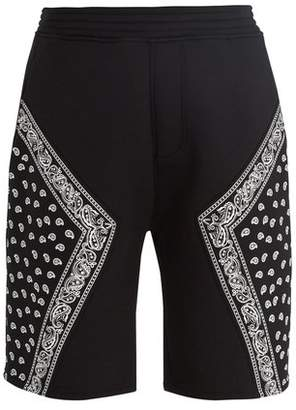 Neil Barrett Bandana Print Neoprene Shorts - Mens - Black White