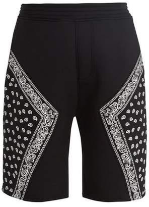 Neil Barrett Bandana Print Neoprene Shorts - Mens - Black White