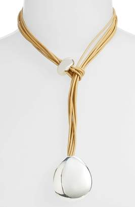 Simon Sebbag Khaki Leather Necklace
