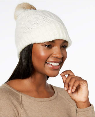 Surell Rabbit-Fur Pom Pom Knit Hat