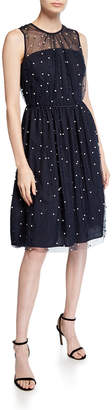 Maggy London Pearly Mesh Fit-&-Flare Dress
