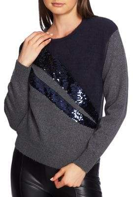 1 STATE 1.STATE Sequin Crewneck Sweater