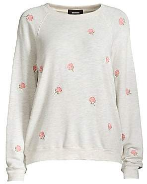 Monrow Women's Rosed Embroidered Drop Shoulder Sweater