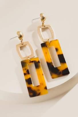 francesca's Payton Tortoise Rectangle Drop Earrings - Amber