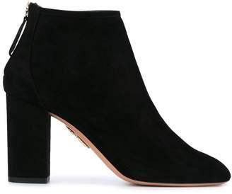 Aquazzura Black Downtown 90 Suede Ankle Boots