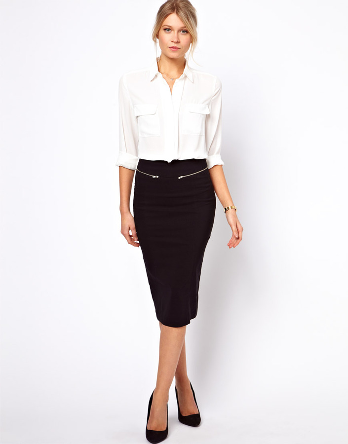 ASOS High Waisted Pencil Skirt with Zip Detail