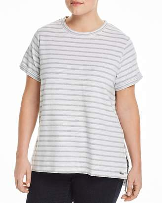 Andrew Marc Performance Plus Stripe-Print Short-Sleeve Top