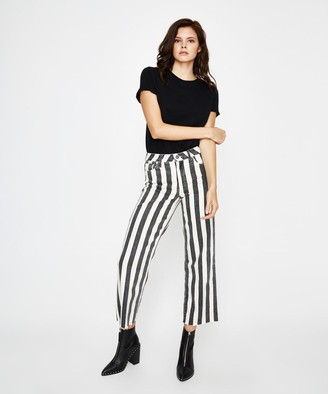 Paige Nellie Culotte Black Ecru Stripe Jean