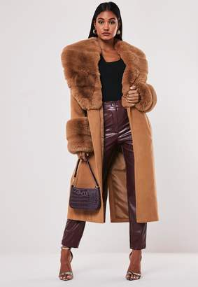 Missguided Tan Pelted Faux Fur Collar Cuff Coat