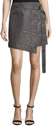 Cédric Charlier Metallic Wrap-Front Mini Skirt, Silver