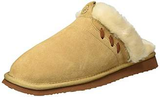 Dearfoams Women's Suede Closed Toe Scuff Slipper - Indoor / Outdoor Padded Slip-Ons with Geniune Suede and Warm Shearling Wool Lining -