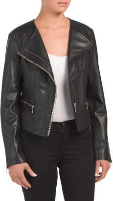 Chain Trim Leather Jacket