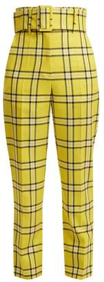 Sara Battaglia Belted Checked Wool Trousers - Womens - Yellow Multi